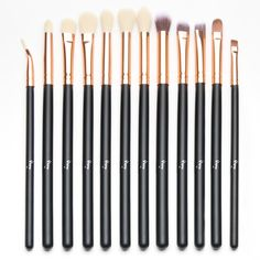Qivange Eye Brush Set, Cosmetics Eyeliner Eyeshadow Blending Brushes (12pcs, Black with Rose Gold). BUY ONE GET ONE: Add both to cart from the following promotion and enter code CX23NR9F at checkout, you can get 1pc makeup brush (Black with Silver) with a portable bag free. ESSENTIAL FOR COMPLETE EYE MAKEUP: Qivange 12pcs eye brush set includes eyeshadow brushes, blending brushes, bent eyeliner brush(Please note that it is bent, not damaged), eyebrow brush and concealer brushes. Different...