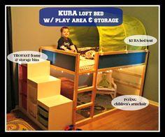Levis room has been updated we flipped his IKEA KURA loft bed into the lo Kura Ikea, Ikea Bunk Bed, Bunk Beds, Loft Beds, Ikea Trofast, Loft Bed Plans, Baby Storage, Storage Ideas, Bed Tent
