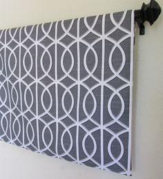 Valance 50''x16'' Dwell Studio Robert Allen bella porte gray Charcoal valances curtain window cotton treatment topper designer fabric - $33.50