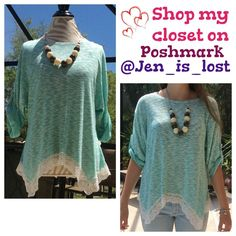 Knit Top Lace Trim S Mint and Off white knit top with lace trim.  Necklace is a complimentary gift with this as pictured 💗!  Material is 86% viscose, 14% polyester. 🚫 No trades 🚫 ✅ Happy Poshing 💕💕💕 Tops Blouses