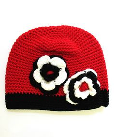 Red Double-Flower Crochet Beanie crochet inspiration