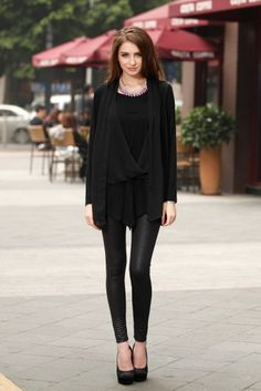 Trendy Black Polyester Long Sleeves Blouse
