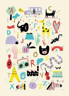 かわいいイラストが散りばめられたポスター。それぞれのアルファベットに対応したイラストなんだな。(via Happy ? Mitou !)