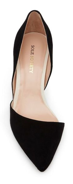 black d'Orsay pointed-toe pumps, Sole Society | love the slightly asymmetrical line of the toe