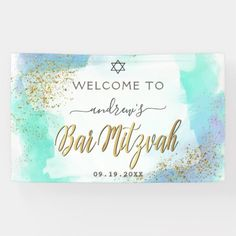 Watercolor Blue And Gold Bar Mitzvah Welcome Banner - tap, personalize, buy right now! Welcome Banner, Bar Mitzvah Invitations, Outdoor Banners, Word Out, Birthdays, Anniversary, Watercolor, Gold