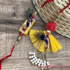 Stunning looking as well as Elegant Lumba n Rakhi for Bhaiya Bhabhi .Now Shop this at Aarav Rakhis! Rakhi Online Shopping, Buy Rakhi Online, Raksha Bandhan Photos, Happy Raksha Bandhan Images, Raksha Bandhan Drawing, Rakhi Images, Handmade Rakhi Designs, Rakhi Making, Saree Tassels Designs