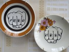 Mr & Mrs knuckle tattoo – upcycled vintage plates want these as a wedding present :-)