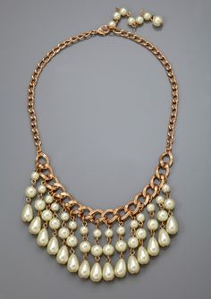 On ideel.com only 19 Hours left to buy at this price! LOLITA Pearl Chain Bib Statement Necklace