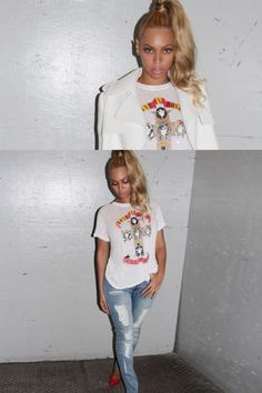 Rocking the super-high ponytail that's making us rethink the potential of our gym hair, she wears an embellished Guns N' Roses T-shirt and distressed denim, then dresses up the look by throwing on a crisp, cropped white jacket.   - MarieClaire.com