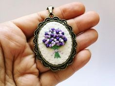 Lilac Embroidered Necklace Gift for mom Mothers day gift