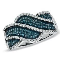 1/2 CT. T.W. Enhanced Blue and White Diamond Ocean Spray Ring in 10K White Gold