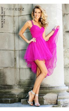 Tarik Ediz 90326 hot pink short dress #prom #sweet sixteen