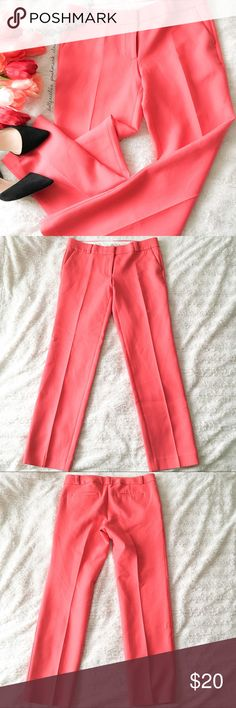 """Loft Hot Coral Pink Tailored Pants ✦   ✦{I am not a professional photographer, actual color of item may vary ➾slightly from pics}  ❥waist:17"""" ❥hips:19"""" ❥length:38"""" ❥inseam:29.5"""" ➳material/care:46%polyester+6%cotton+3%cotton/Dry clean  ➳fit:true, a fitted 6 w/give in fabric  ➳condition:has light wear on fabric see photo 4  ✦20% off bundles of 3/more items ✦No Trades  ✦NO HOLDS ✦No transactions outside Poshmark  ✦No lowball offers/sales are final LOFT Pants Trousers"""