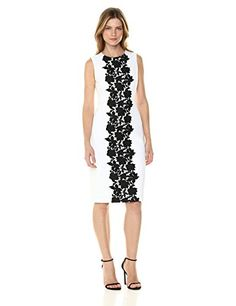 62b3af84d5bd4 Calvin Klein Women s Sleeveless White Sheath with Black Lace Panel Dress  Dress Clothes For Women