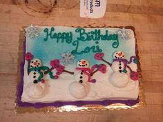 Snowmen sheet cake.