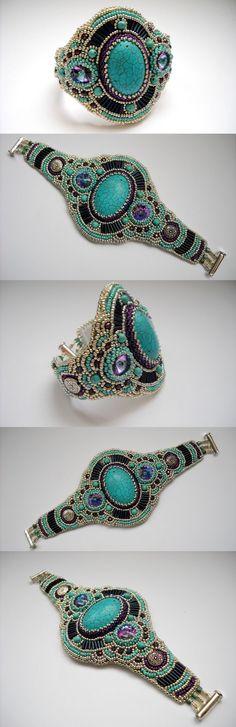 Cuff feminino Bracelet Bead Bordado com Turquesa.