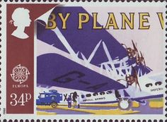 Europa. Transport and Mail Services in 1930's 34p Stamp (1988) Imperial Airways Handley Page H.P.45 Horatius and Airmail Van