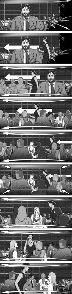 Storyboarding complex one-take sequences. Storyboards by storyboard artist Cuong Huynh.
