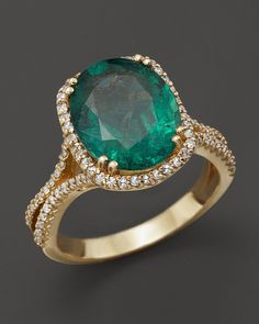Bloomingdale's Emerald and Diamond Oval Statement Ring in 14K Yellow Gold on shopstyle.com