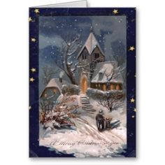 Vintage Christmas Cards    A lovely wintery scene in shades of blue surrounded by stars. A lovely antique illustration. The ins...