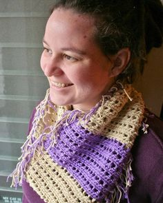 Purple Striped  Cowl with Fringe by thepinkwoobie on Etsy, $20.00