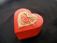 Hand Painted Wooden Heart Shaped Jewelry Box, Small, With Check Pattern Fabric…