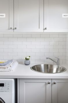 Laundry detail by One Girl Interiors. White handmade subway tiles with pale grey grout and a white stone bench top. Photography by Sherise Fleming The Effective Pictures We Offer You About DIY Laundry Laundry Room Tile, Kitchen Remodel, Diy Laundry, Kitchen Flooring, Room Tiles, Trendy Kitchen Tile, Flooring, New Kitchen, Kitchen