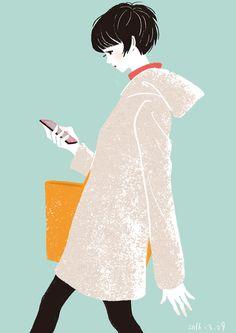 1日1絵 20160329 急なお誘い  #イラストレーション #illustration #girls #girl #drawing #daily drawing #ファッションイラスト #fashionillustration  #女の子 #design #sketch #人物画 #人物イラスト