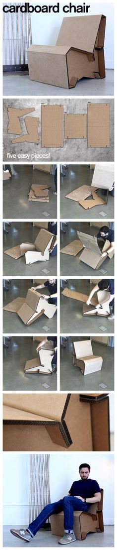You can certainly make almost anything out of cardboard. Cardboard crafts are so easy to master and it's very cheap to get the required supplies. So if you're into easy and quick crafts, you gotta look at these great cardboard crafts. Cardboard Chair, Diy Cardboard Furniture, Cardboard Design, Paper Furniture, Cardboard Crafts, Cool Furniture, Furniture Design, Furniture Ideas, Furniture Stores