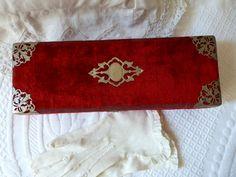 Antique French 1900s red silk velvet glove by MyFrenchAntiqueShop