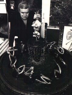 H.R. Giger, Process Photograph with Model of Zodiac Fountain