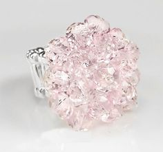 Pink Rosaline Swarovski Crystal Cocktail Ring with Silver Stretch Band