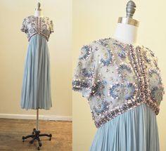 Vintage Malcolm Starr 1960's blue silk by mirandavintagebridal, $395.00