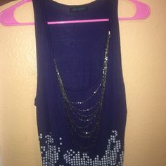 Dress Blue designed dress, with chain Size large. Super stylish and only worn once. All clothing final sale, no trade offers please. Open to bundling so don't be shy. Check out my sellers discount! Feel free to ask me any questions or submit any offers thank you. Love Culture Dresses