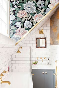 Bathroom Before & After Metro tiles brass taps and Osborne & Little koi carp fish wallpaper in The Pink House bathroom The post Bathroom Before & After appeared first on Architecture Diy. Bad Inspiration, Decoration Inspiration, Bathroom Inspiration, Interior Inspiration, Decor Ideas, Tiny Bathrooms, Beautiful Bathrooms, Bathroom Small, Small Bathroom With Wallpaper