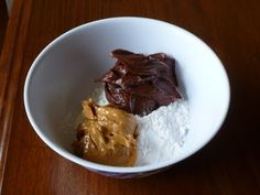 Edible Chocolate play-dough. 1 tub choc icing, 1 c peanut butter, 1 1/2 c powdered sugar