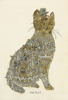 Untitled [Cat] (gold leaf, plastic appliqué collage and ink on paper mounted on board, – Andy Warhol by matilda I Love Cats, Crazy Cats, Art Andy Warhol, Illustrations, Illustration Art, Art Beauté, Collages, Son Chat, Pop Art Movement
