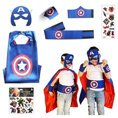 Captain America Costume Child  Superhero Cape Set  7 Items in Package ** Click for Special Deals #MarvelCostumes