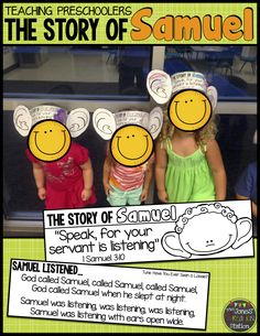 Your little learners will love hearing the story of Hannah and Samuel! Grab this fun freebie for your kids to show how much Samuel listened to God! Preschool Bible Lessons, Bible Lessons For Kids, Bible Activities, Bible For Kids, Preschool Bible Crafts, Kids Crafts, Preschool Sunday School Lessons, Church Activities, Preschool Ideas