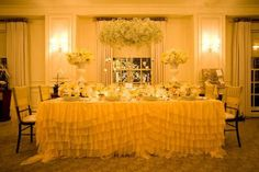 Table Cloth- Ruffles.  Hostess with the Mostess® - Spring Garden / Yellow Tablescape Inspiration
