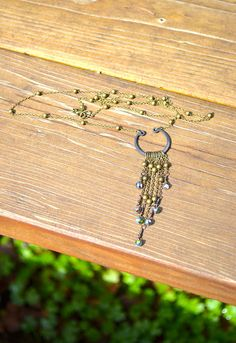 Fringe Necklace with brass chain and Czech glass button beads