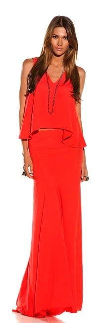 Long mango skirt and flounce tank Colorful Fashion, Love Fashion, High Fashion, Fashion Beauty, Womens Fashion, Fashion Design, Maxi Styles, Coral, Pretty Outfits