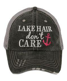 Gray  Lake Hair Don t Care  Mesh-Back Trucker Hat 439f41d01676