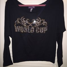World Cup Allstars Cheer long sleeve shirt Rep World Cup Allstars in this super cute blinged out long sleeve shirt. Its meant to fit loose and hang off of one shoulder Tops Tees - Long Sleeve