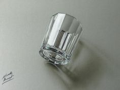3D drawing of a glass, hyper realistic glass effect by Marcello Barenghi