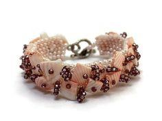 Blush bracelet beadwoven pale peach summer jewelry by SalixCinerea