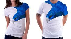 Awesome bird wrap around graphic t-shirt. Nice color,  texture and unique placement!