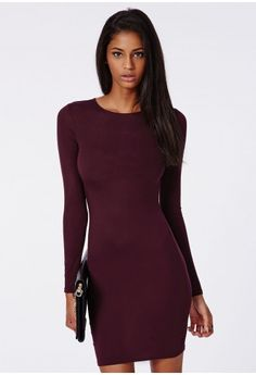 We're mega crushing on this casual chic long sleeve pretty plum bodycon dress. With soft jersey fabric and figure flattering bodycon fit this dress is a layering dream and the perfect throw on and go item. Style high with lots of layers a...