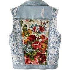 Light blue Denim vest embellished jacket white lace floral bouquet... ($195) ❤ liked on Polyvore featuring outerwear, vests, denim waistcoat, light blue vest, white lace vest, white waistcoat and beaded vest