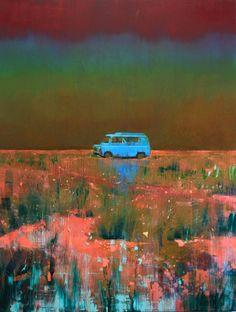 """Saatchi Art Artist Nick Archer; Painting, """"stranded"""" bleak, van, colourful, atmospheric, landscape #art"""